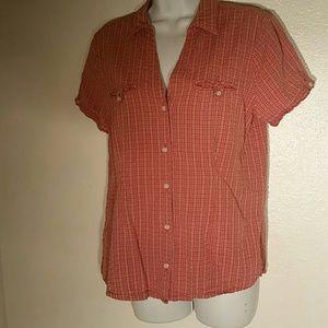 Eddie Bauer Cotton Red Striped Blouse. M